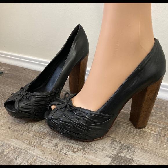 Aldo black bow tie heels